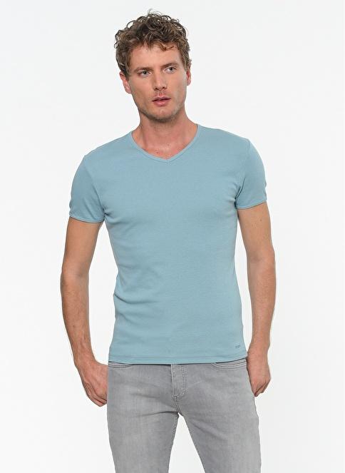 Mavi V Yaka Tişört  Mavi